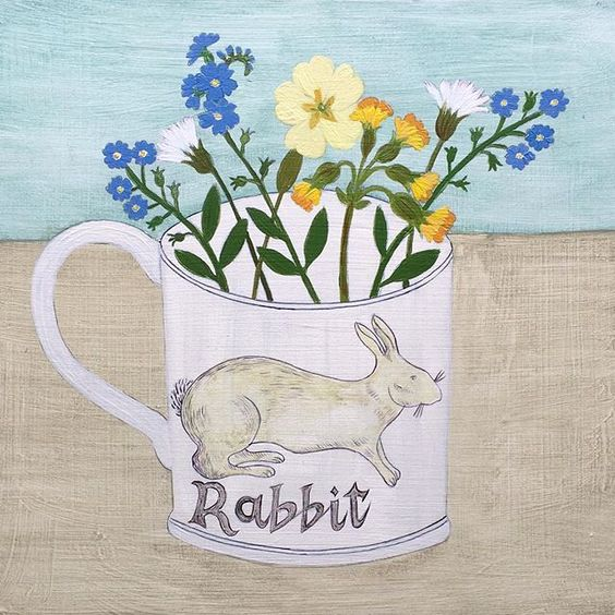 I am working on this commission today. 'Rabbit cup and Spring flowers' it is a cup that I have painted a few times before with a customers favourite spring flowers. #newpainting #commission #paintingoftheday #rabbit #springflowers #flowerpainting #primrose #daisy #forgetmenot #painting