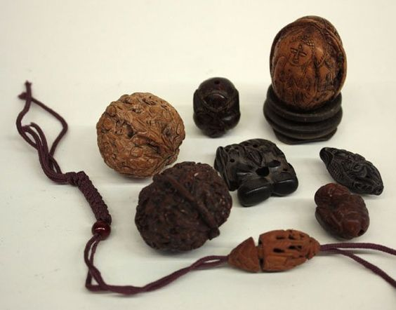 Chinese Carved Nuts/Beads/Toggled