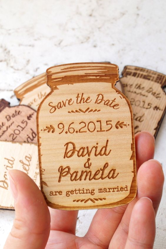 The cutest and most convenient way to save the date? These wood magnets.: