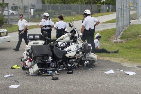 A Hillsborough County Sheriff's motorcycle following an accident while escorting US President Barack Obama to a speech about trade policies with Latin America at the Port of Tampa in Tampa, Florida, April 13, 2012.