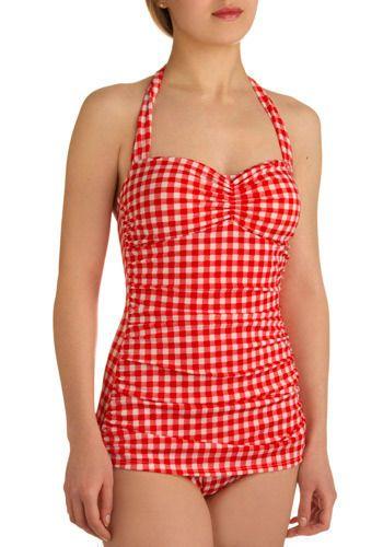 Bathing Beauty One Piece in Cherry Pie. I love retro bathing suits :): Cherry Pies, Retro Swimsuits, One Piece Swimsuit, Red Gingham, Vintage Bathing Suits