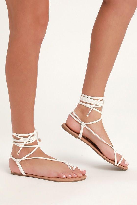 Micah White Lace-Up Flat Sandals | Lace