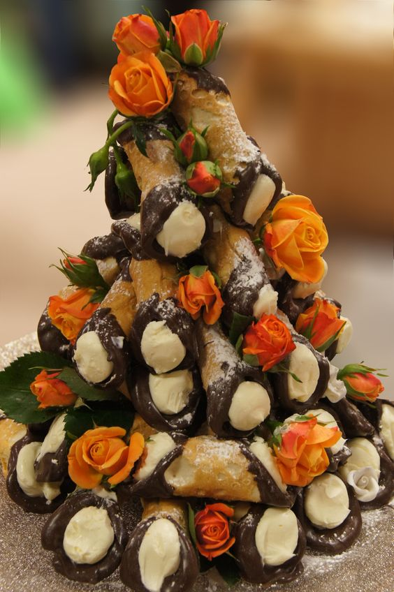 Alternative To Rose Garden: Cannoli Tower. Perfect Alternative To Cake For The Bride
