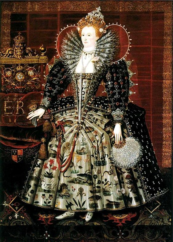 Elizabeth in a French Farthingale - notice how the skirt does not go all the way to the floor, but goes to the ankle. She has a standing ruff, conch, fan, and slashed shoes as well.