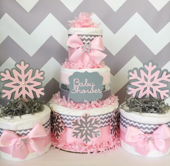shower decorations winter baby showers pink and gray centerpiece ideas