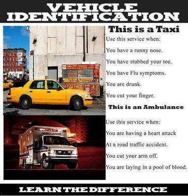 Vehicle Identification:  Taxi vs Ambulance. Know the difference.