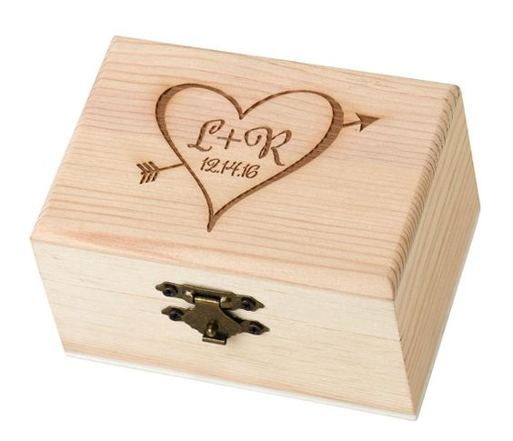 Personalized Rustic Wood Engraved Ring Bearer Box by MonogramCraze