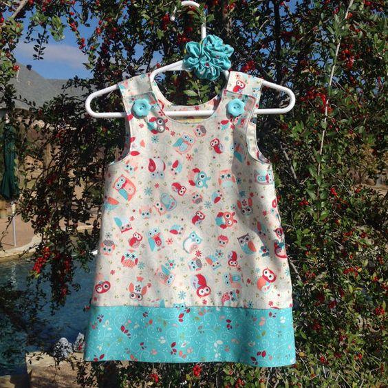 Coral and Aqua Tossed Owl Dress w Aqua Leaf by SewSusanCreations, $27.00