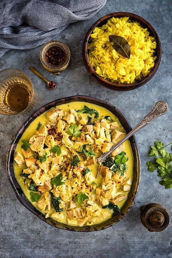 A great way to use your Christmas leftovers - make this crowd pleasing leftover turkey Korma curry to serve with golden rice