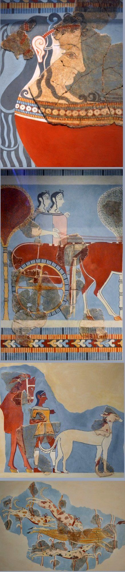 Murals from palace of tiryns national archaeological for Ancient greek mural