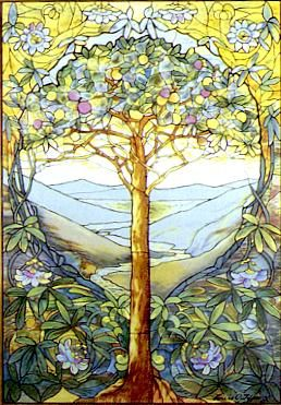 The Tree of Life, stained glass by Louis Comfort Tiffany. Tiffany was an American artist and designer whose stained glass creations are still a favorite today. Yes, Tiffany lamps are named after this guy's style. Where Mucha's paintings looked like stained glass on paper, Tiffany's creations looked like canvas paintings on glass. Wonderfully ornate and colorful, and perfectly Art Nouveau.