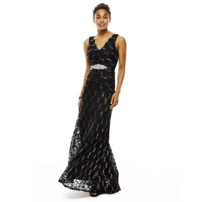 My Michelle® Sleeveless Lace Long Slim Dress - JCPenney