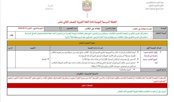 الخطة الدرسية اليومية الفصل الدراسي الاول للصف الثاني عشر مادة اللغة العربية 10 Things