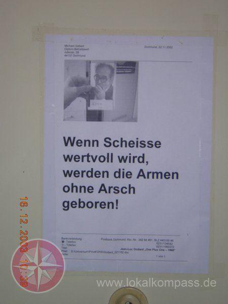 Passender Spruch von Jean-Luc Godard zur Schuldenkrise - Dortmund-City - lokalkompass.de