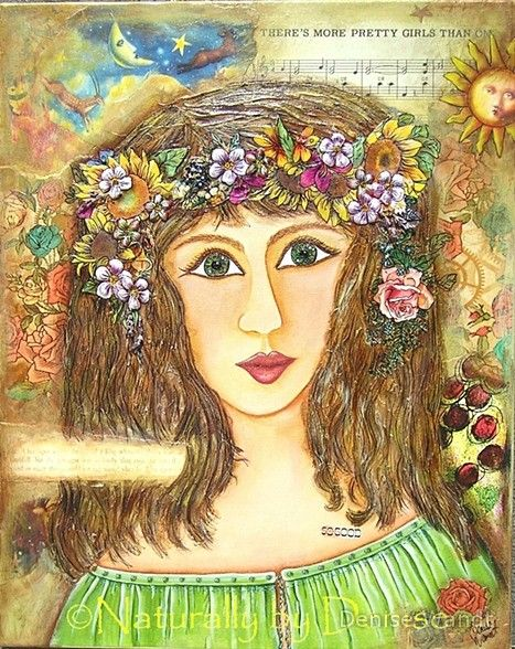 The Kings daughter is a Mixed media original art piece that has delicious texture and color. This is a Tale of a Princess, who was so Beautiful, that the Moon was even Jealous of her.