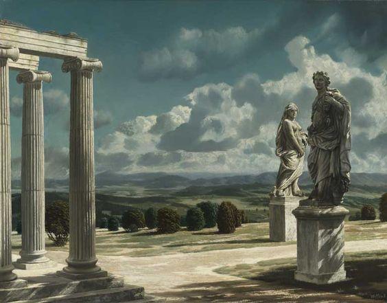 Carel Willink (1900–1983), Landschap met ruïne, 1947, olieverf op doek, 51x66cm - Collectie Museum van Bommel van Dam