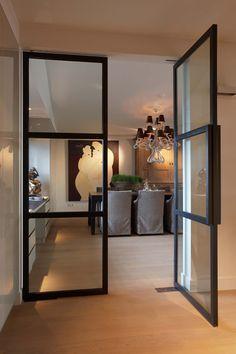 Smeedijzeren, glazen deur