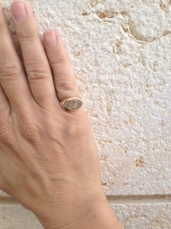 Pinky Monogram Ring Signet Ring Initial Ring by ShilaJewelry $75 00