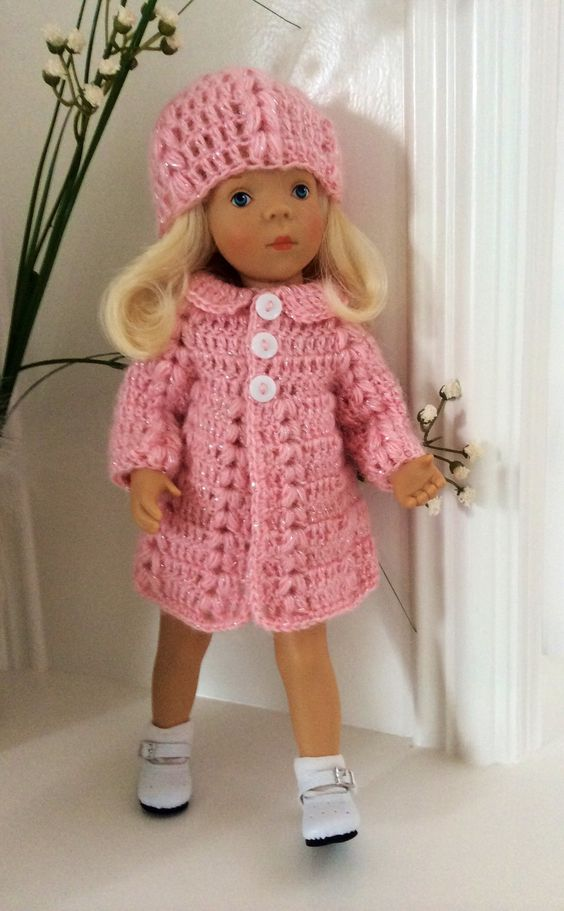 Manteau et bonnet au crochet pour poupées 33 cm Minouche Petit Colin : Jeux…