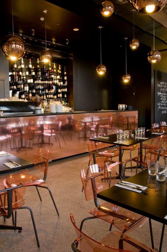 baroque bar bistro patisserie low lighting dark table tops huge copper bar bar top lighting