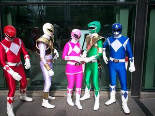 Power Rangers at the comic con.  They had pretty impressive costumes (looked almost like the real thing, though I doubt that it is the same actors).: