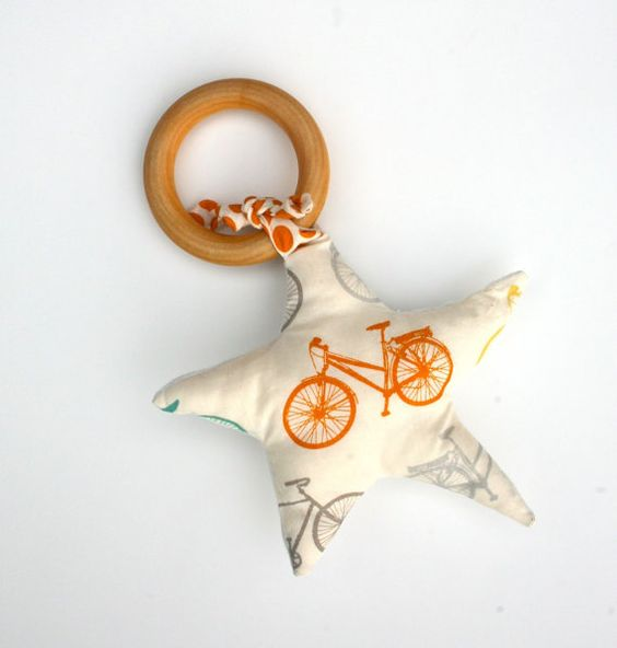 Orange Cruiser Bike in Star Organic Wood TEETHING by GrowingUpWild, $22.00