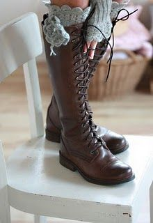 lace up boots with crocheted accompaniments.