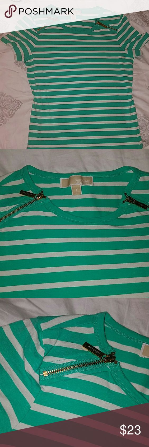 Michael Kors top Michael Kors top. Like new condition. Wore once. Mint green stripes with white. Gold zippers in each side. Michael Kors Tops Camisoles