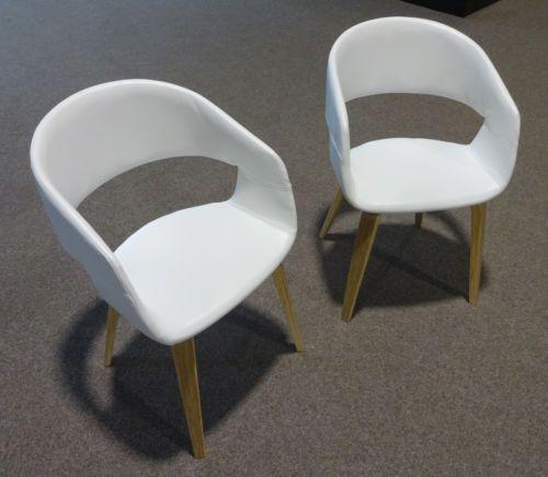 Armlehnenstuhl stuhl faxe i 2er set kunstleder weiss eiche for Stuhl weiss kunstleder