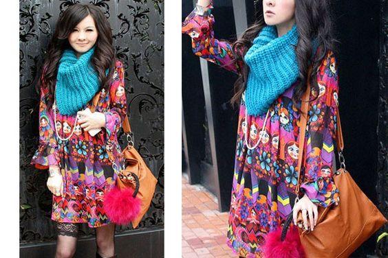 VINTAGE Kleid MATROSCHKA Dress Tunika