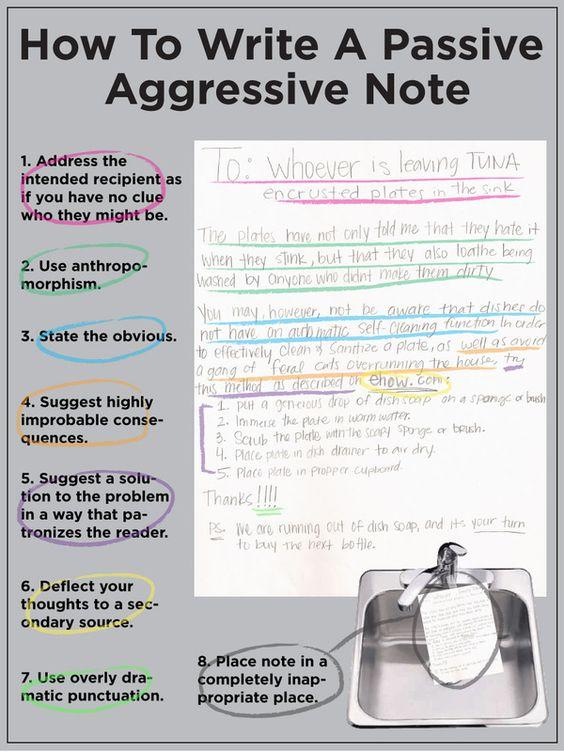 How To Write A Passive-Aggressive Note Passive aggressive - how to write a
