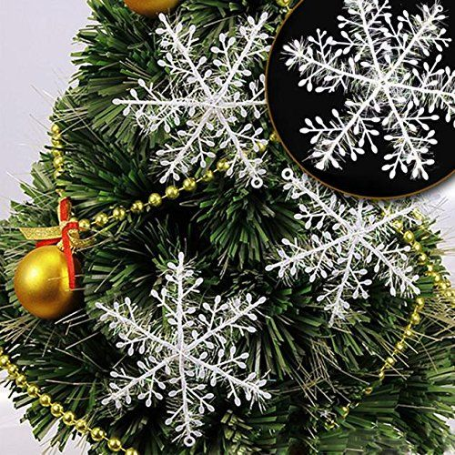 Muangan.30Pcs New Classic White Snowflake Ornaments Christmas Holiday Party Home Decor * See this great image  : Garden Christmas Decorations
