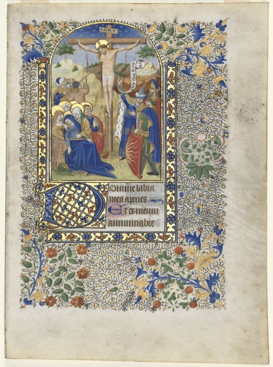 Single Leaf from a Book of Hours: The Crucifixion (Hours of the Cross), c. 1435 France (Angers, Nantes, or Poitiers), 15th century ink, tempera, and gold on vellum, Sheet: 22.00 x 16.20 cm