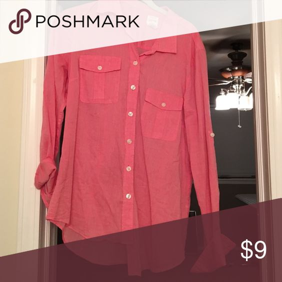 Jcrew Pink Button Down Thin material. Perfect for summer & fall J Crew Tops Button Down Shirts