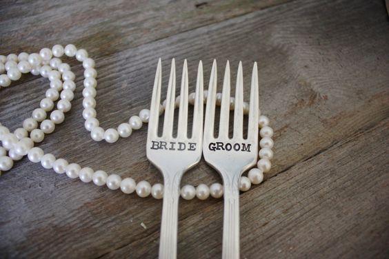 Bride & Groom Wedding Cake Fork Set - Hand Stamped - Vintage Wedding - Wedding Details, Vintage, Decor. $30.00, via Etsy.