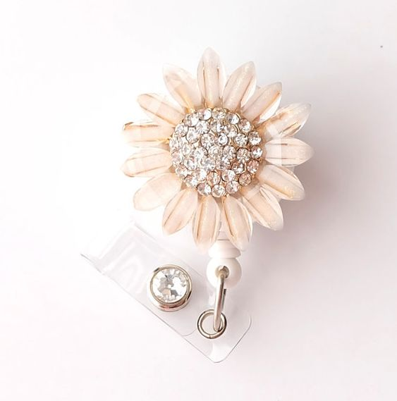 Gold Sunflower Bling - Pretty Badge Holder - Bling Badge Reel - Stylish ID Badge Clip - Nurse Jewelry - Teacher Gift - RN Badge BadgeBlooms on Etsy, $18.00