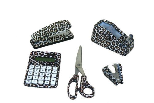 5 Set Cheetah Animal Safari Print Office Kit Stapler, Staple Remover, Scissors, Tape Dispenser & Calculator Pretty Tools http://www.amazon.com/dp/B00JTK2D7K/ref=cm_sw_r_pi_dp_-fhcvb0WKKAK2