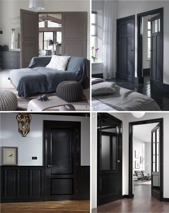 Peindre ses portes en noir et gris d co pinterest for Peindre ses murs