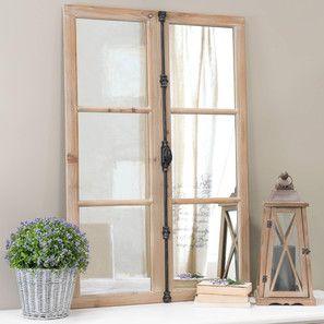 Miroir fenêtre en bois et métal noir H 120 cm VAUCLUSE