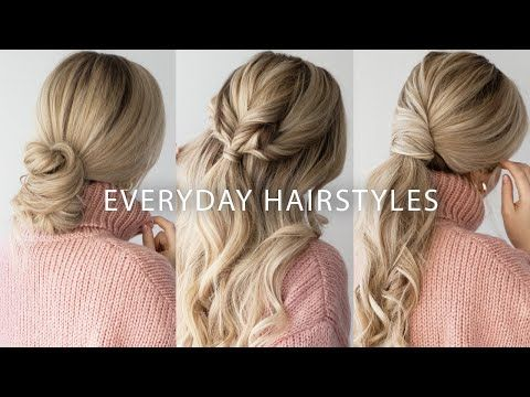 In Today S Hair Tutorial I Am Sharing 3 Easy Hairstyles That Are Perfect For This Sweater Weather We Re Currentl Medium Hair Styles Easy Hairstyles Hair Styles