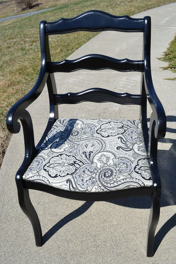 repurposed vintage chair black lacquer paint and black and white paisley material black lacquer furniture paint