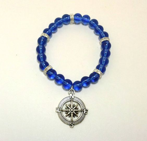 Blue Silver Compass Bracelet Direction by ShamisesBlissful on Etsy