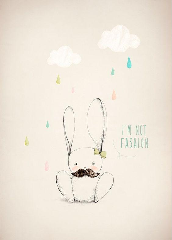 Affiche Illustration Lapin - Dessin Mode - Aline Caron