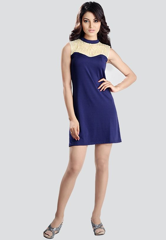 Sleeve Less Solid Blue Dress $129.20 (24% OFF)  https://www.dollyfashions.com/ozel-sleeve-less-solid-blue-dress-3000126200.html