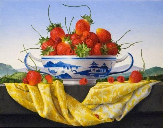 James Aponovich (b.1948) — Syawberries  with Canton Bowl, 2013  (736x577):