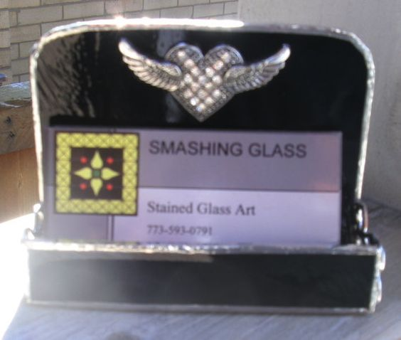 Winged Heart Business Card Holder...ONE OF A by smashingglass, $27.99
