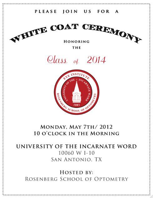 Invitations. UIW - White Coat Ceremony | Graphic Design