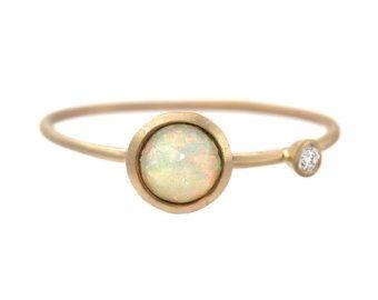 Anillo del ópalo ópalo y anillo de diamantes oro OOAK por NIXIN