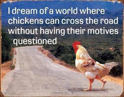 I dream of a world where chickens can cross the road without having their motives questioned.