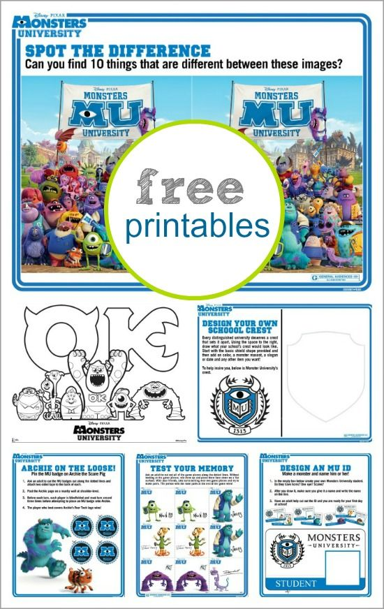 Monsters University: Activity Sheets {free printables}